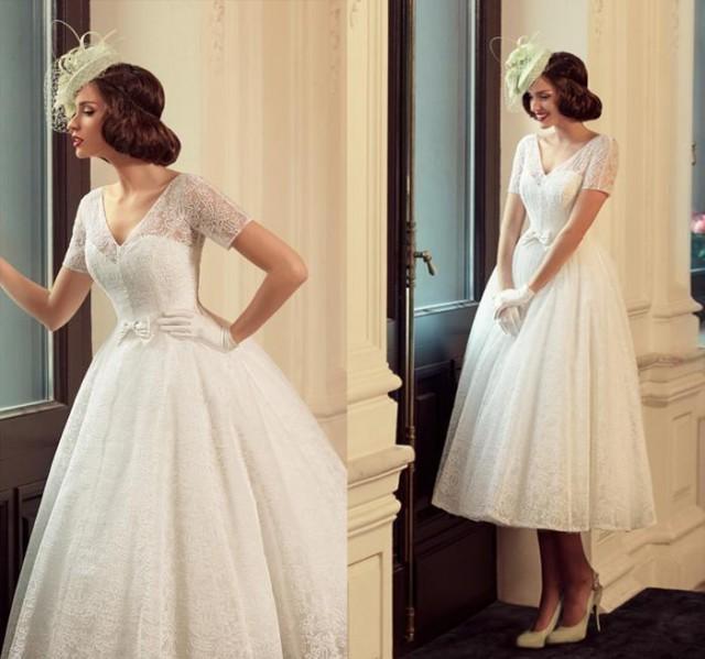 Vintage Lace Tea Length Beach Wedding Dress Short Sleeves: Vintage Full Lace Tea Length Short Wedding Dresses Beach