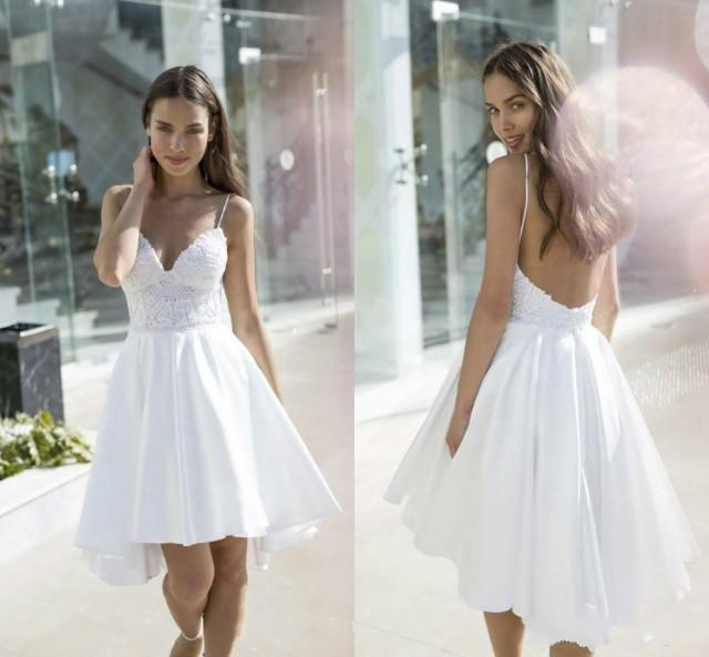 Shop Online Beach Wedding Dresses Cheap Wedding Dresses: Sexy Nurit Hen Backless Lace Beach Short Wedding Dresses