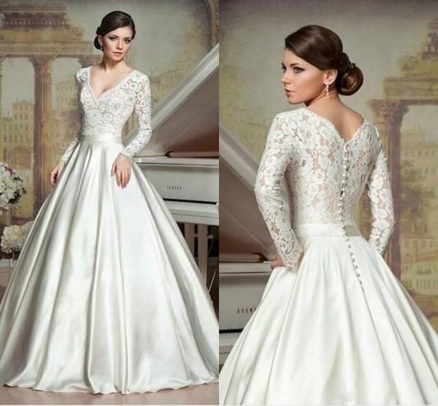 Simple A Line Long Sleeve Wedding Dress Elegant 2016: Long Sleeve A-Line Wedding Dresses Deep V Neck Chapel
