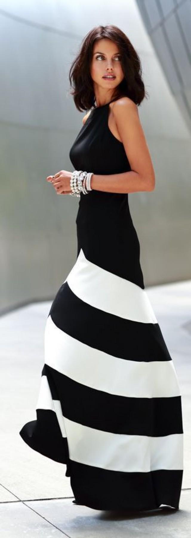 4b3a90f01d0a Black White Chiffon Stripe Sleeveless Maxi Casual Dress #2497422 - Weddbook