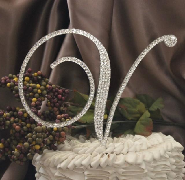 6 U0026quot  Monogram Wedding Cake Topper Initial With Swarovski