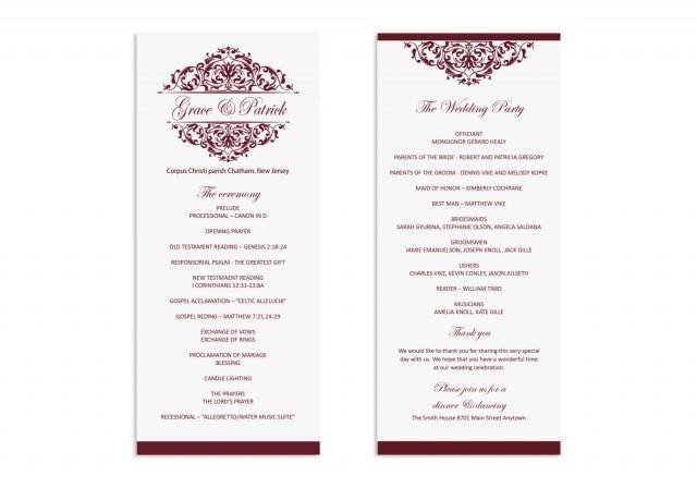 Wedding Program Template - Printable Wedding Program - Wedding ...