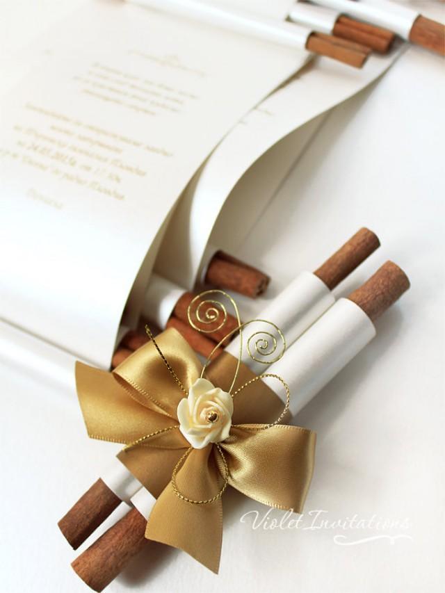 handmade gold ivory rose wedding scroll invitation sample antique gold satin ribbon invitation cinnamon ornamental wedding scroll invite 2497701 - Wedding Scroll Invitations