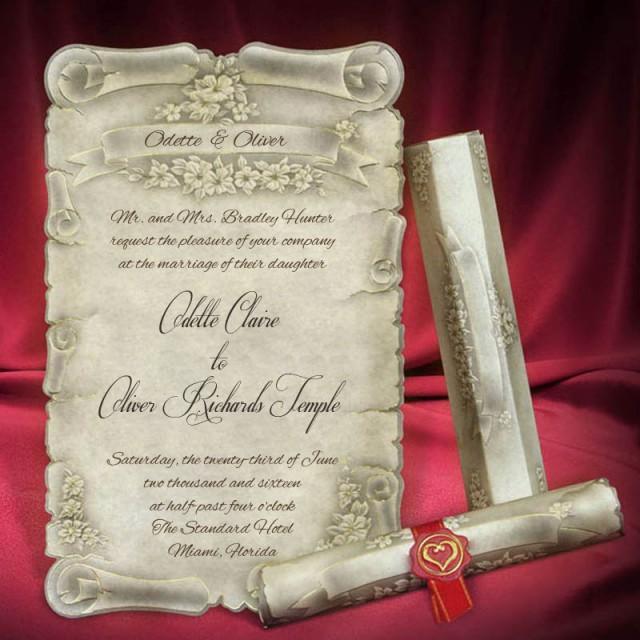 Scroll Wedding Invitation Card Personalized Beautiful ...