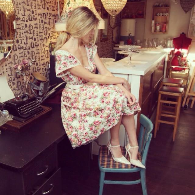 Vintage Wedding Dresses Brighton: Floral, Full Circle Skirt Tea Dress, Bridesmaid