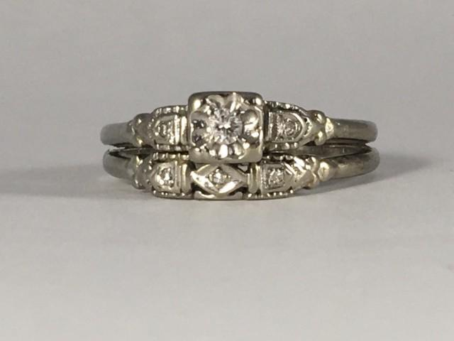 Vintage Diamond Engagement Ring And Wedding Band Set Cluster