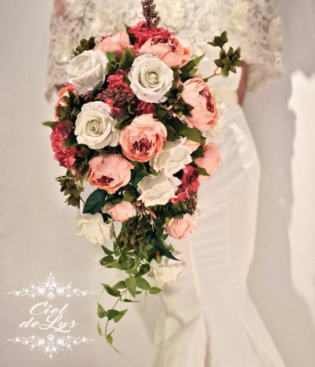 Cascade Bouquet Silk Wedding Flower: Jacquie Cascading Wedding Bouquet By Ciel De Lys Peonies