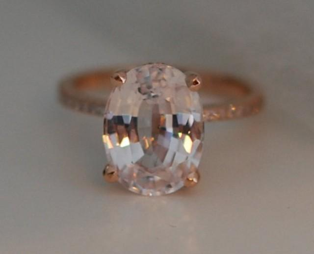 Blake Lively Ring Peach Sapphire Engagement Ring Oval Cut