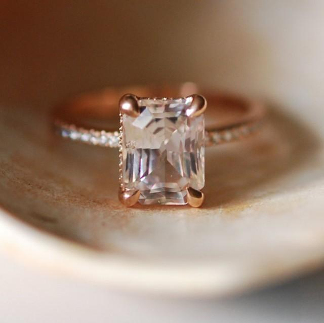 Blake Lively Ring White Sapphire Engagement Ring Emerald