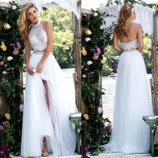 Shop Online Beach Wedding Dresses Cheap Wedding Dresses: Sexy Boho Wedding Dresses Two Pieces Beaded High Neck