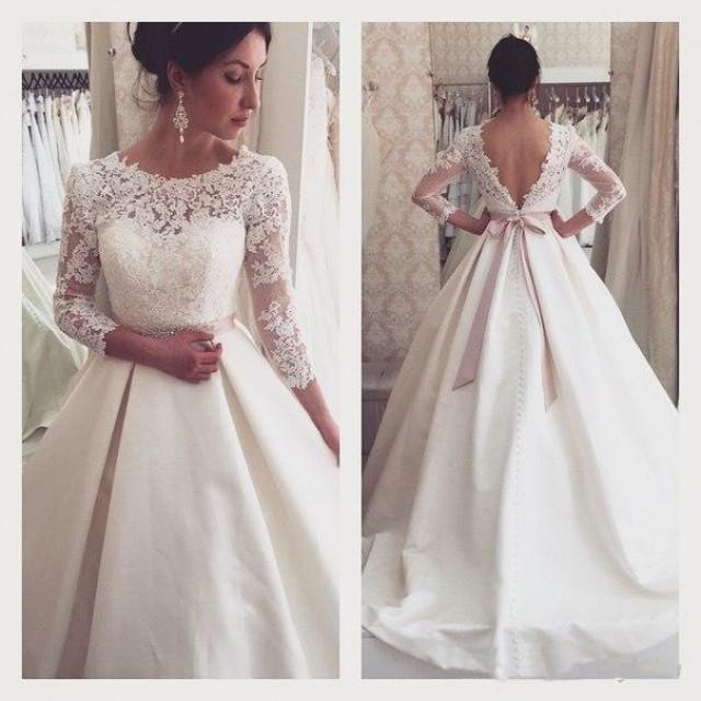 New arrival graceful lace a line wedding dresses 2016 for Backless wedding dresses online
