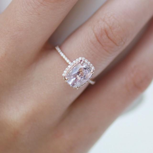 Cushion Cut Engagement Ring 2 8ct Cushion Lavender Peach