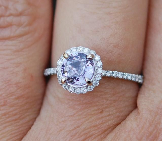 rose cushion diamond sapphire from champagne peach on etsy ring rings engagement gold lavender p eidelprecious