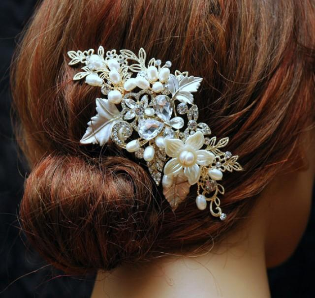 Wedding Vintage Style Hair Accessories: Pearl Wedding Hair Comb, Gold Hair Comb, Bridal Hair Comb