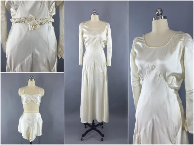 2ea2b6b4d439 Vintage 1930s Wedding Dress   30s Bias Cut Dress   1920s Art Deco Wedding  Gown   Ivory Silk Satin   20s Bridal Lingerie Slip Set  2499234 - Weddbook