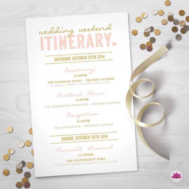 Wedding Weekend Itinerary Wedding Day Timeline Digital