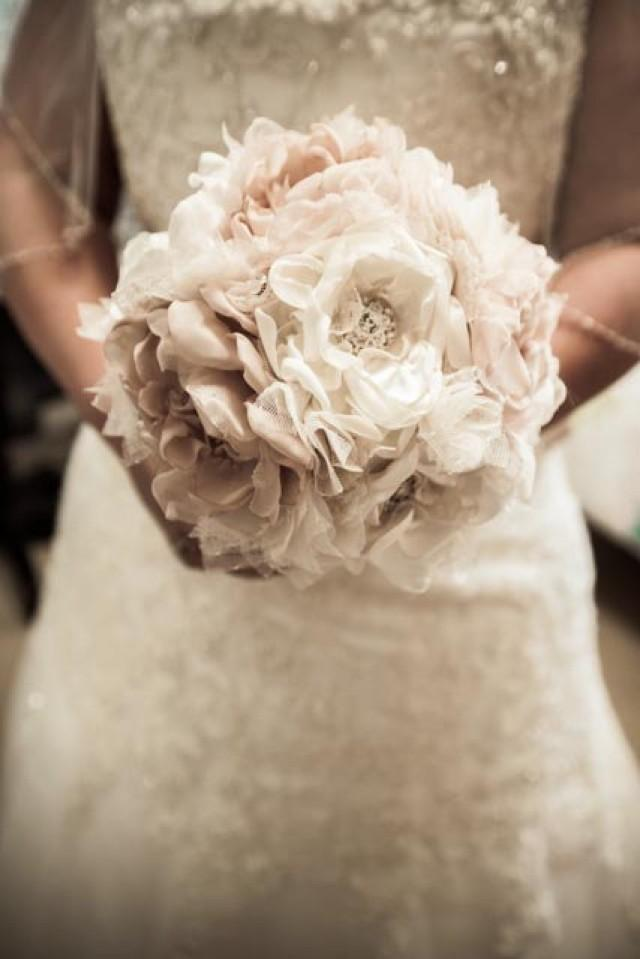 Wedding Bouquet Vintage Inspired Fabric Flower Brooch Bouquet Ivory ...