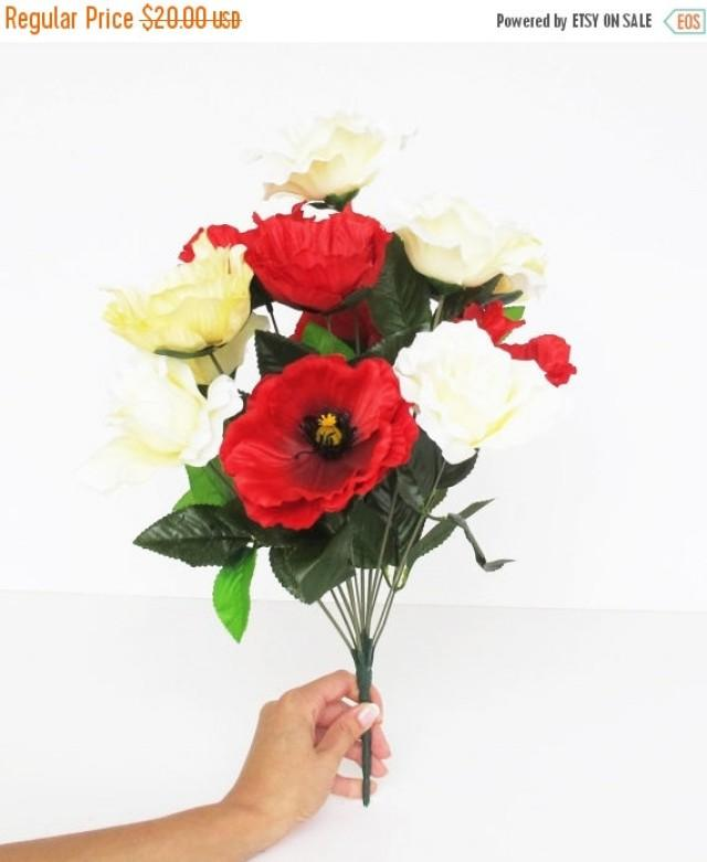 Sale 12 silk flowers bouquet red yellow creamy poppies roses sale 12 silk flowers bouquet red yellow creamy poppies roses artificial poppy anemones 177 branch bush flower wedding bouquets decoration 2499400 mightylinksfo