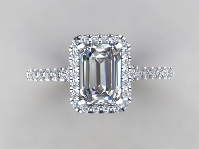 Emerald Cut Diamond Simulate Center Halo Engagement Ring