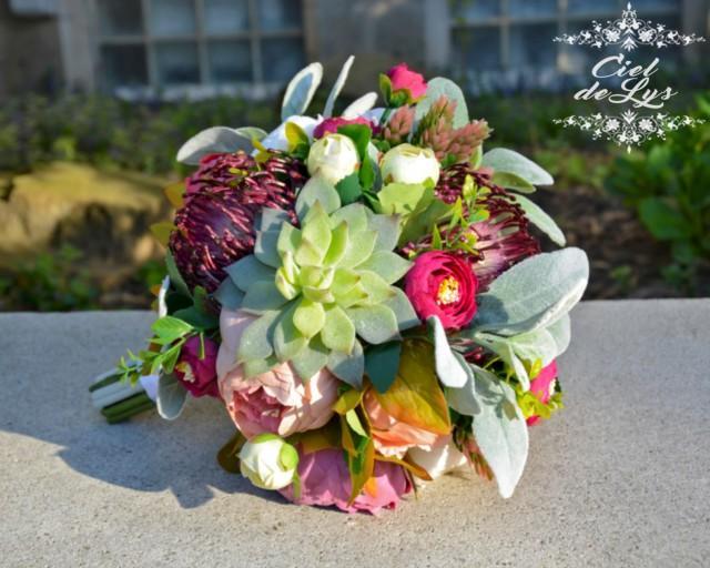 Viviane succulent wedding bouquet by ciel de lys succulent for Bouquet de lys