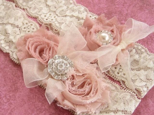 Vintage Wedding Garter Dusty Rose Bridal Set Lace With Toss Ivory Rhinestones And Pearls Custom Colors 2499864