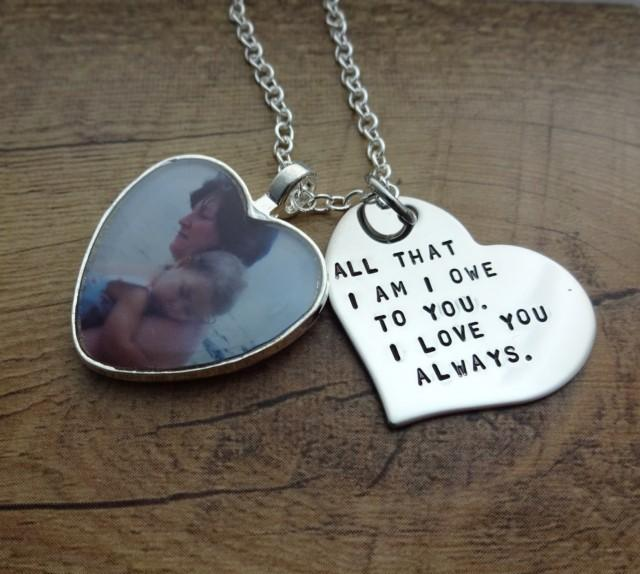 Gift From Bride To Mother: Personalized Hand Stamped Heart Photo Charm Necklace