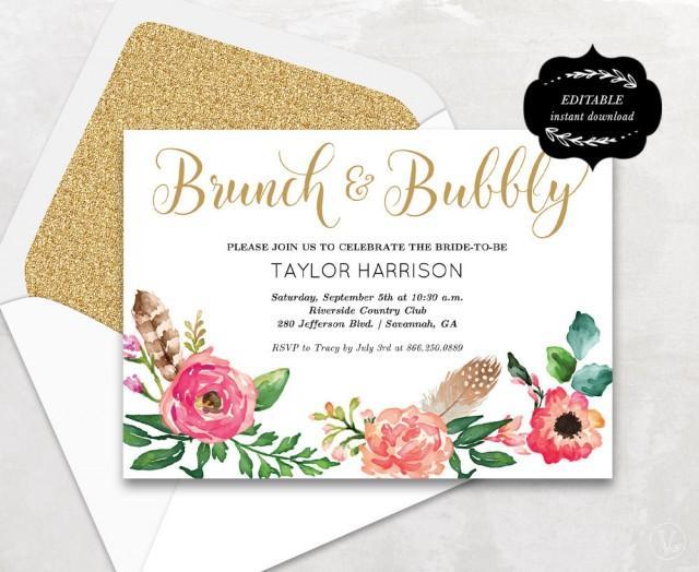 Floral Bridal Shower Template Printable Bridal Shower Invitation Boho Bridal Shower Card Instant Download Editable Text 5x7 Bs001 2499953 Weddbook,Wedding Dress Fitted Mermaid