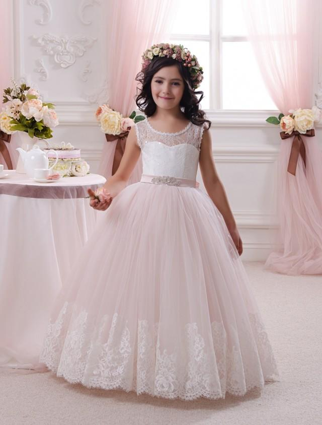 68ca56403 Ivory And Blush Pink Flower Girl Dress - Birthday Wedding Party Holiday  Bridesmaid Flower Girl Ivory And Blush Pink Tulle Lace Dress #2500760 -  Weddbook
