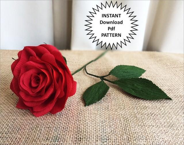 Pdf Pattern Diy Paper Roses Crepe Paper Roses Paper Flowers Diy