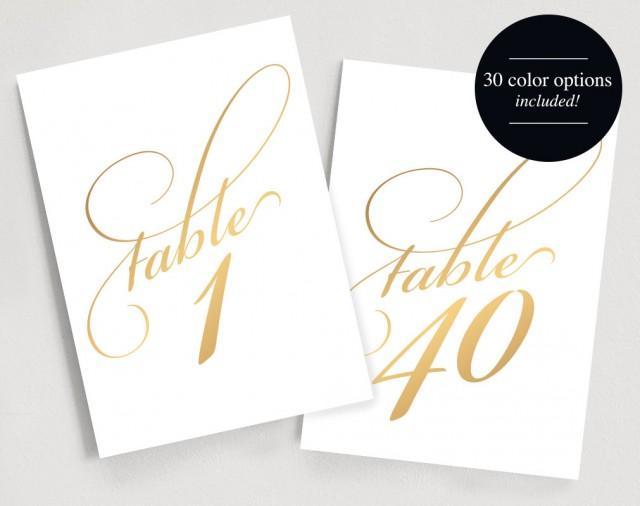 image regarding Free Printable Table Numbers 1 30 identify Printable Desk Figures Prompt Obtain 1-40 - Gold Desk