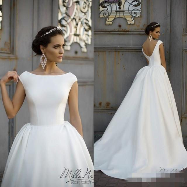 Simple Wedding Dresses With Sleeves: Simple Style 2016 White Wedding Dresses Jewel Neck Cap