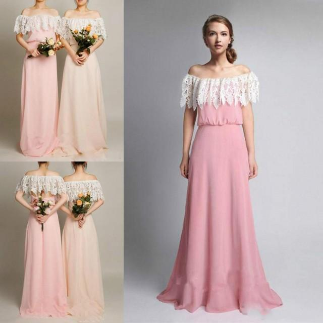 350141543db Spring 2016 Lace Bridesmaid Dresses Off Shoulder Hollow Back Bridesmaids  Girl s Dress For Wedding A Line Chiffon Beach Formal Evening Gowns Online  With ...