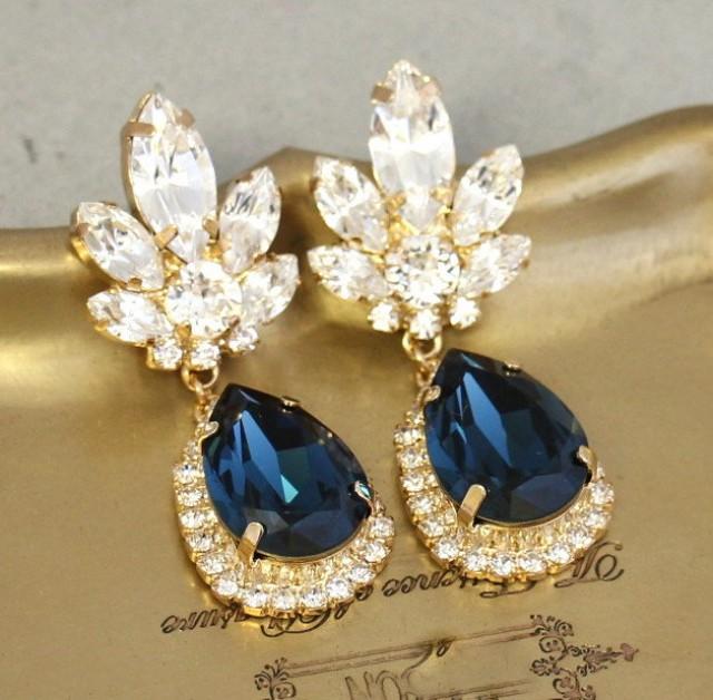 Blue Navy Chandelier Earrings Bridal Dangle Midnight Swarovski Drop 2501639