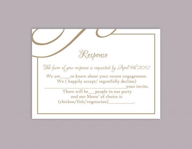 Wedding Invitation Response Cards: DIY Wedding RSVP Template Editable Text Word File Download