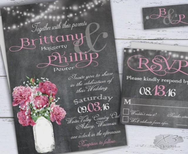 Chalkboard Wedding Invitations: Printable Country Wedding Invitations, DIY Rustic Wedding