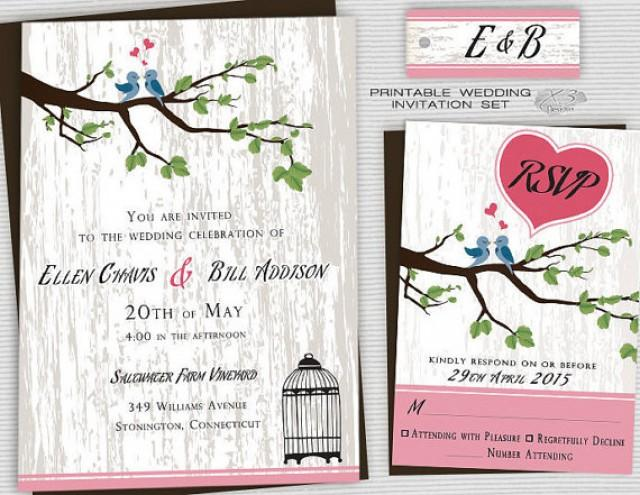 Bird Wedding Invitation: Printable Backyard Wedding Invitations, Country Wedding