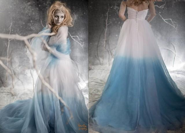 Frozen Ombre Blue Wedding Dress With Crystal Detail Couture Wedding Gown Colored Wedding Dress Pink Blue Green Yellow Orange Purple 2501956 Weddbook
