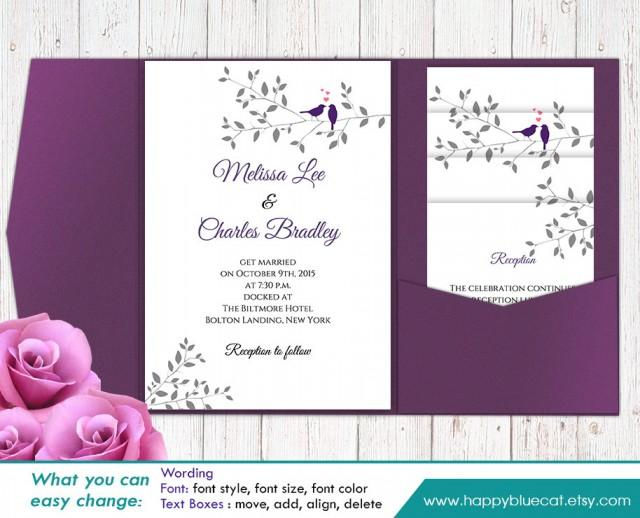 Printable Wedding Invitation Sets: DiY Printable Pocket Wedding Invitation Template SET