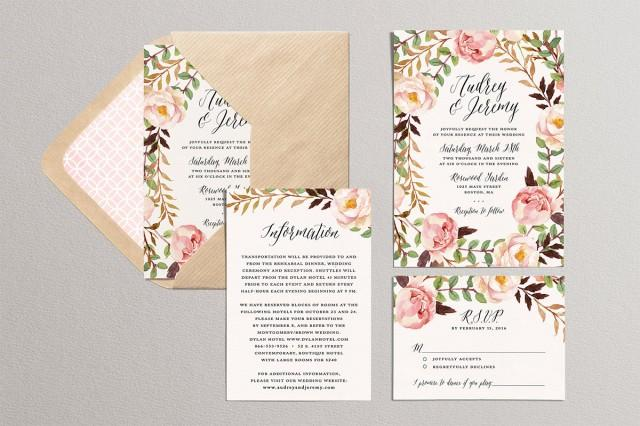 Garden Wedding Invitations: Printable Wedding Invitation Set, Floral Wedding Suite