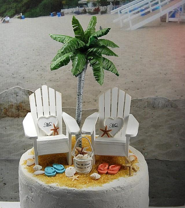 Beach Adirondack Chairs Cake Topper