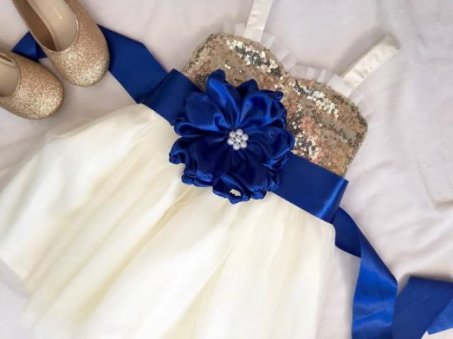 Gold And Ivory Flower Girl Dress, Gold Sequin And Royal Blue Flower ...