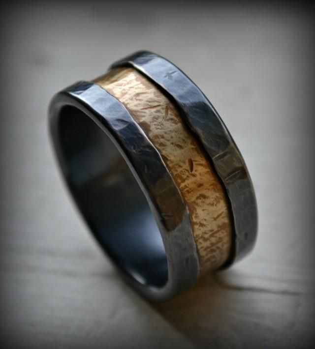 Mens Wedding Band Rustic Fine Silver And Brass Ring