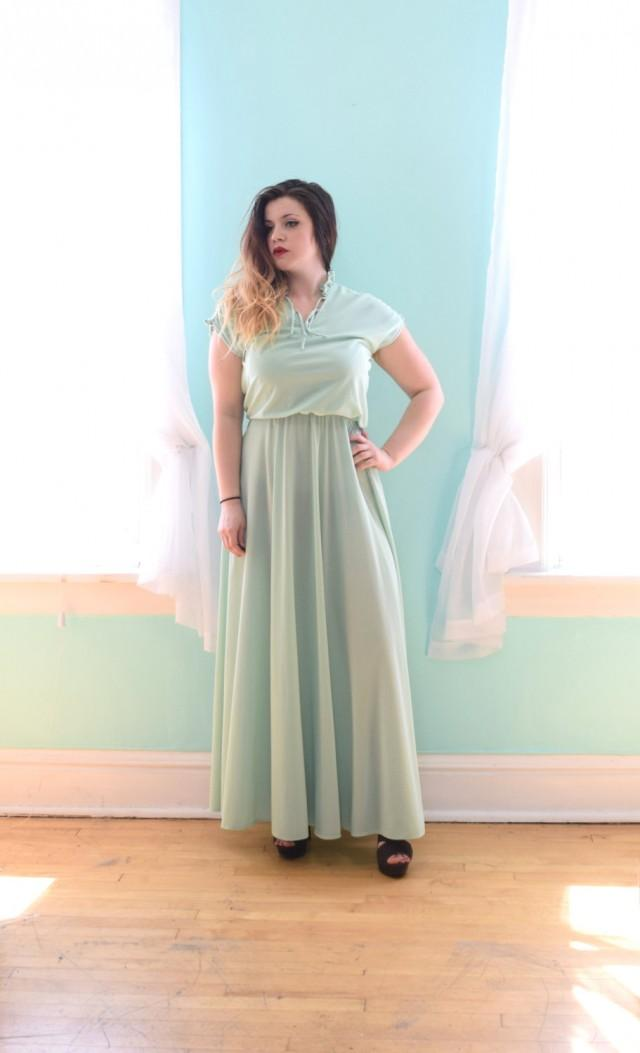 Vintage 1980s Mint Green Maxi Dress Bridesmaid Wedding Guest Small S