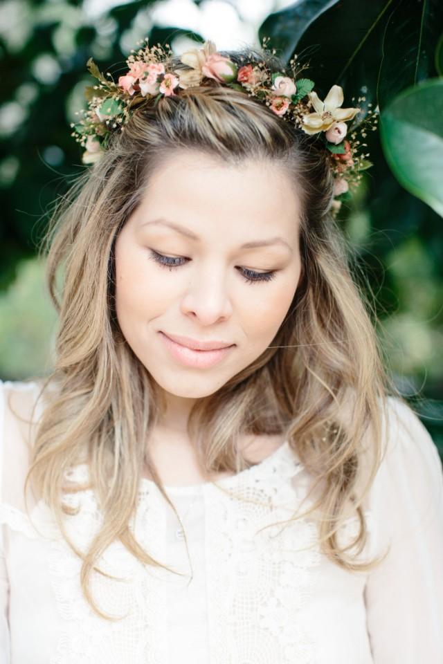 Wedding Flower Crown Peach Woodland Bridal Party Dried