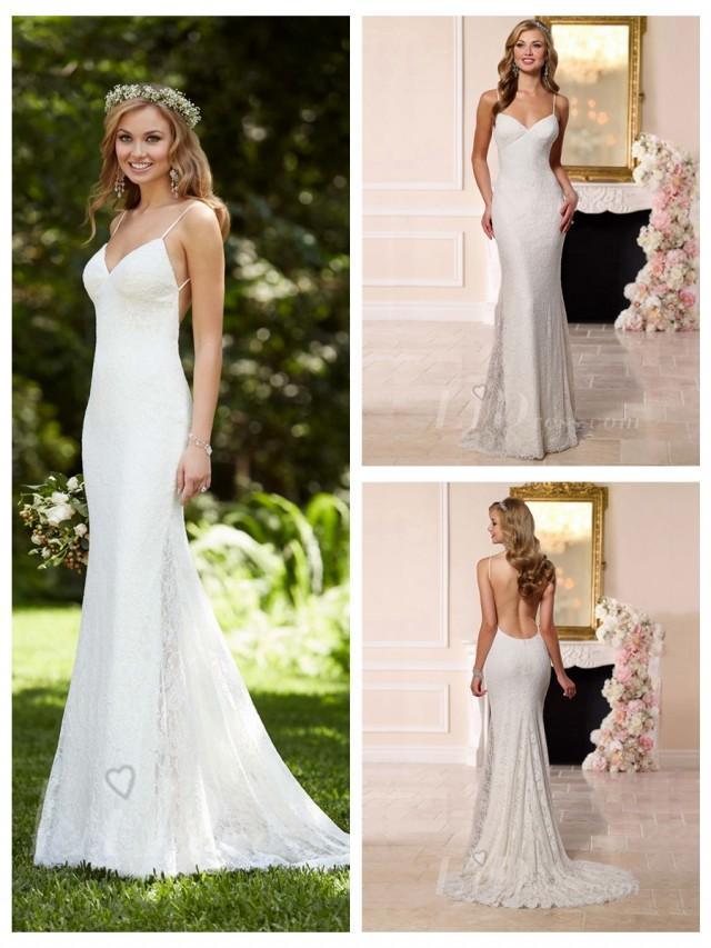 Dreamatic spaghetti straps low back sheath wedding dress for T back wedding dress