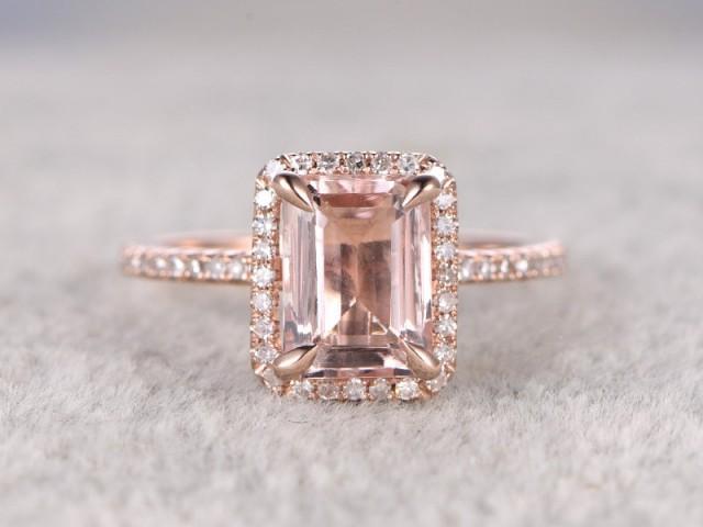 6x8mm Morganite Engagement Ring Rose Gold Diamond Wedding