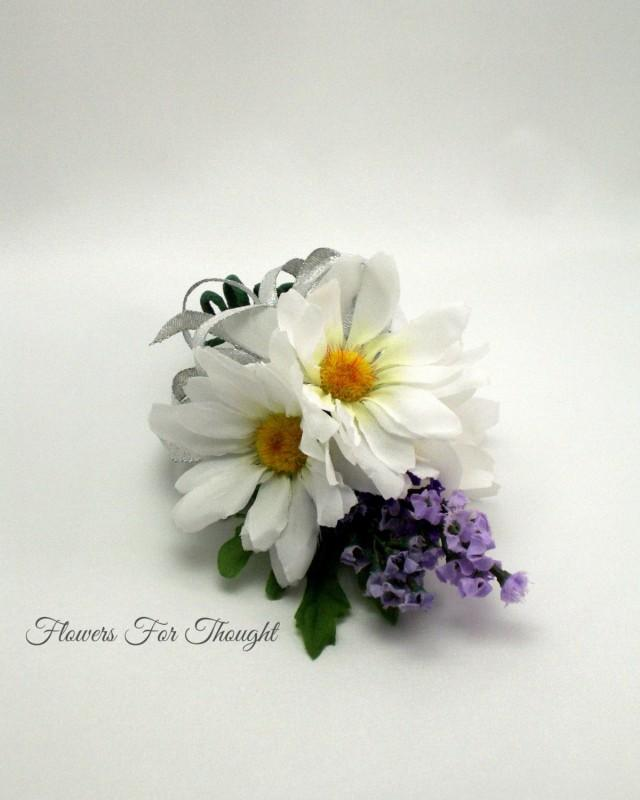 White Daisies And Lavender Wrist Corsage Wedding Prom Homecoming