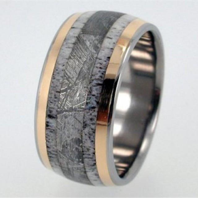 Deer Antler Meteorite And 18K Yellow Gold Inlay Titanium Wedding Band Meteor Ring 2504357