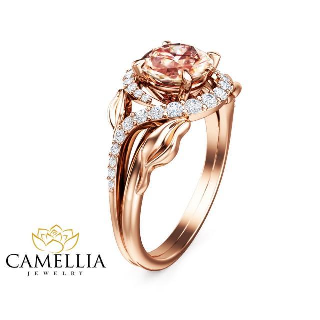 14k gold morganite engagement ring unique leaf design