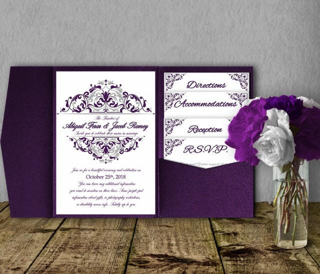 Silver Purple Wedding Invitation Template Kit, Invitation ...
